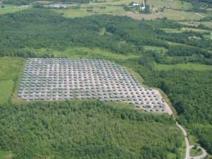 Aerial view of Vermont's largest solar installation - 382 AllSun Trackers in South Burlington, Vermont